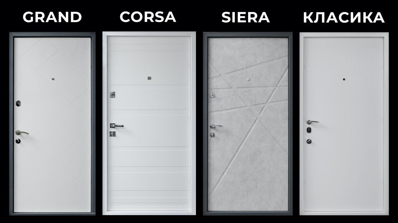 Білі вхідні двері Страж берез